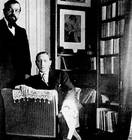 Debussy with Igor Stravinsky: photograph by Erik Satie, June 1910, taken in Debussy's apartment in the Avenue du Bois de Boulogne Debussy