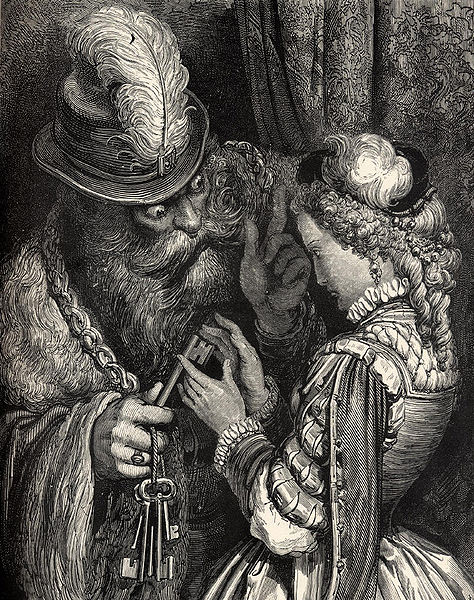 Bluebeard and Judith in an illustration by Gustave Doré for Perrault's tale